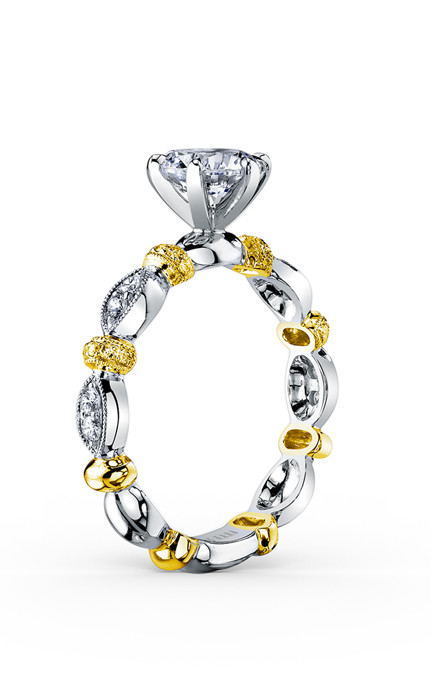 Kirk Kara Dahlia - Platinum, 18k yellow gold 0.15ctw Diamond Engagement Ring, K1270YDC-R product image