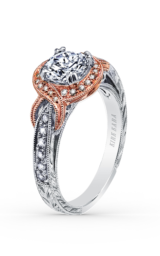 Kirk Kara Pirouetta - 18k rose gold, Platinum 0.23ctw Diamond Engagement Ring, K150R65RWR product image
