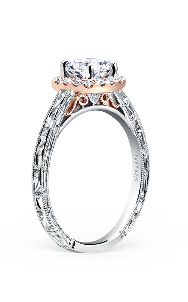 Kirk Kara Carmella - 18k white gold, 18k rose gold 0.17ctw Diamond Engagement Ring, K184NEC6RWR product image