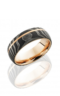 Lashbrook Damascus Steel Wedding Band 14KRSLEEVED8DTIGER11OC14KRACID product image