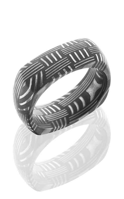 Lashbrook Damascus Steel Wedding band D8DSQBASKET ACID product image