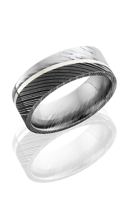 Lashbrook Damascus Steel Wedding band D8F11ANGLED SS ACID POLISH product image