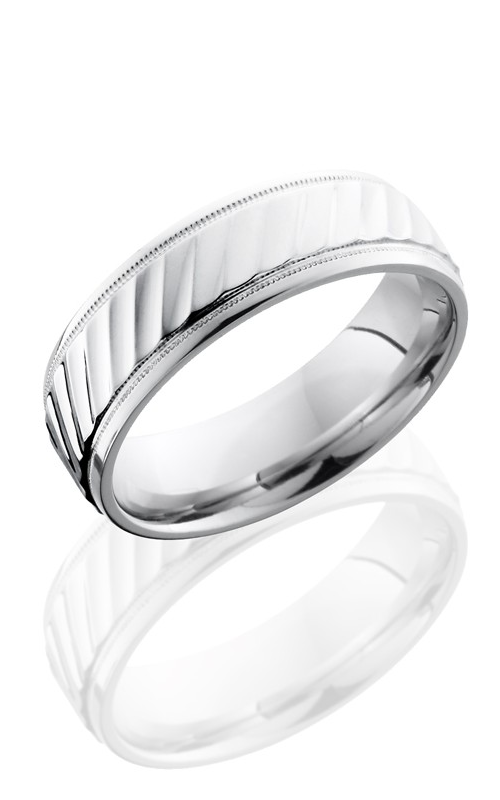 Lashbrook Cobalt Chrome Wedding band CC7B2UMILWSTRIPES POLISH product image