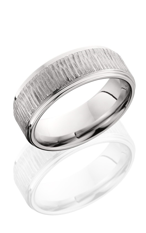Lashbrook Cobalt Chrome Wedding band CB-8RC TREEBARK BRUSH product image