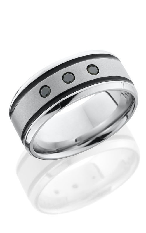 Lashbrook Cobalt Chrome Wedding band CC9B21WABLKDIA3X.06 BEAD product image