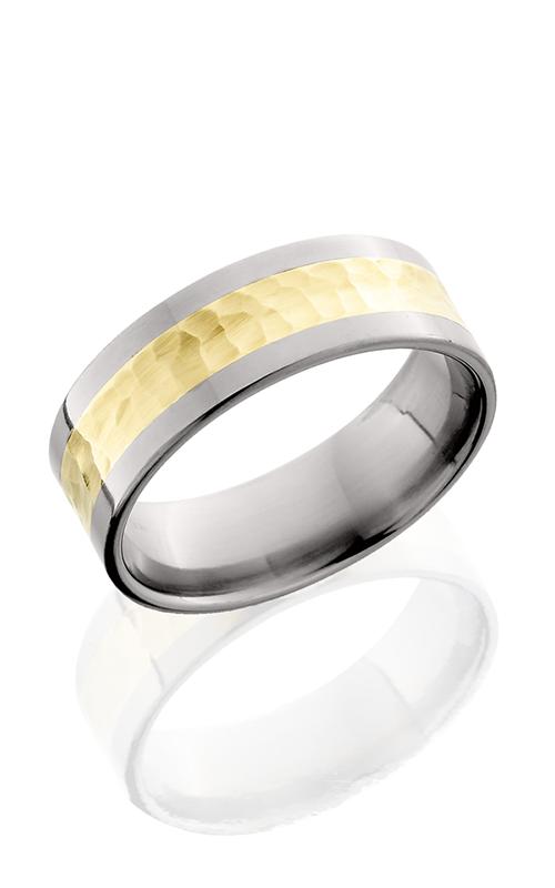Lashbrook Titanium Wedding band 8F14 14KY HAMMER POLISH product image