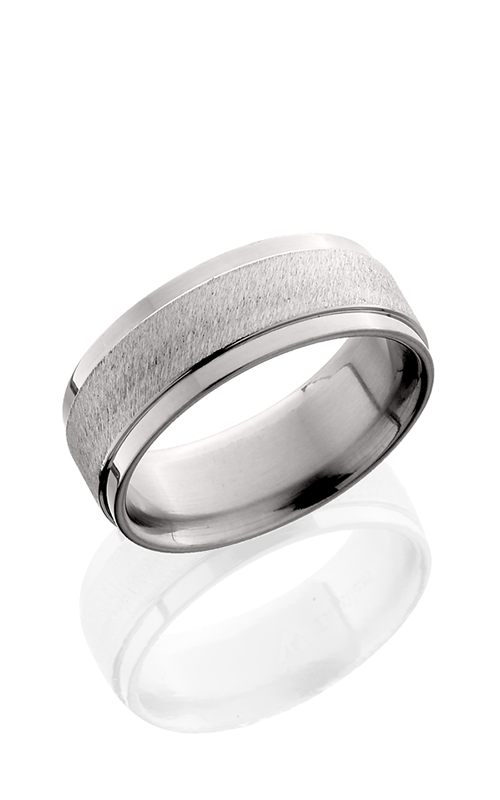 Lashbrook Titanium Wedding band 8FGE ANGLE STONE POLISH product image