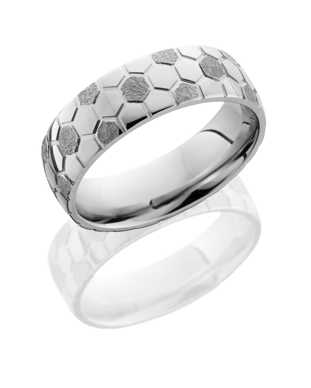 Lashbrook Cobalt Chrome Wedding band CC7D SOCCER STIPPLE-POLISH product image