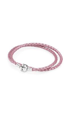 PANDORA Pink Braided Double-Leather Charm Bracelet 590705CMP-D2 product image