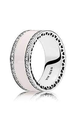 PANDORA Hearts Soft Pink Enamel & Clear CZ Ring 191024EN40-48 product image