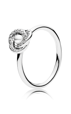 PANDORA Mother's Day Luminous Love Knot White Crystal Pearl & Clear CZ Fashion Ring 191040WCP-48 product image