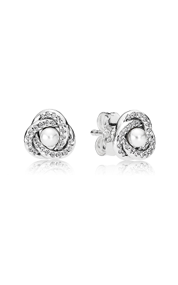 PANDORA Mother's Day Luminous Love Knots White Crystal Pearl & Clear CZ Earrings 290740WCP