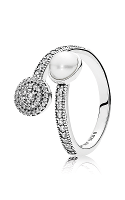 PANDORA Mother's Day Luminous Glow White Crystal Pearl and Clear CZ Fashion Ring 191044CZ-54 product image
