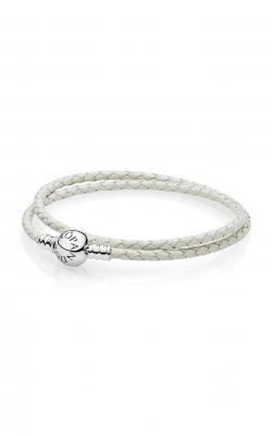 PANDORA Ivory White Braided Double-Leather Charm Bracelet 590745CIW-D3 product image