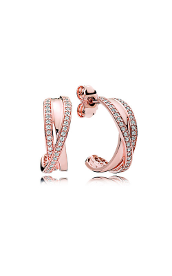 PANDORA Rose™ & Clear CZ Entwined Hoop Earrings 280730CZ product image