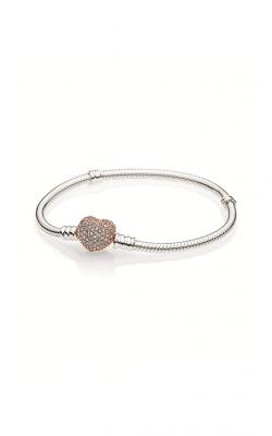 PANDORA Rose™ Pavé Heart Clasp with PANDORA Sterling Silver Bracelet 586292CZ-19 product image