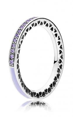 PANDORA Radiant Hearts Ring Lavender Enamel & Clear CZ 191011ACZ-48 product image