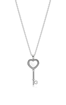 PANDORA Floating Locket Heart Key Necklace Sapphire Crystal & Clear CZ 396581CZ-80