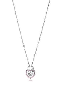 PANDORA Lock Your Promise Necklace Fancy Fuchsia Pink CZ 396583FPC-60 product image