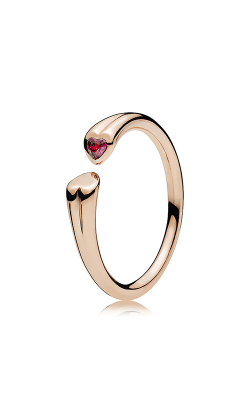 PANDORA Rose™ & Red CZ Two Hearts Ring 186570CZR-44
