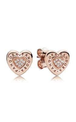 PANDORA Signature Heart Earrings PANDORA Rose™ & Clear CZ 287382CZ