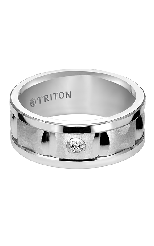 Triton  9mm Comfort Fit WTC Satin Diamond Band - A  Wedding Band  22-4821HC-G product image