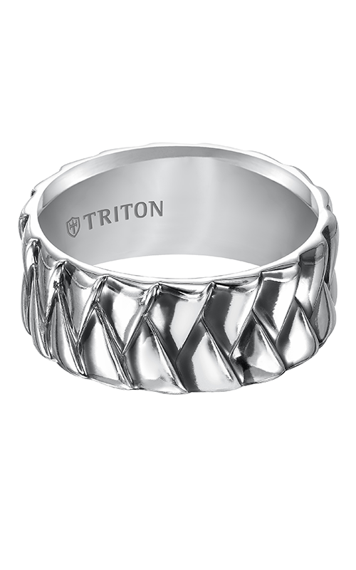 Triton  Woven Silver Black Oxidation Band -A  Wedding Band  11-4924SV-G product image