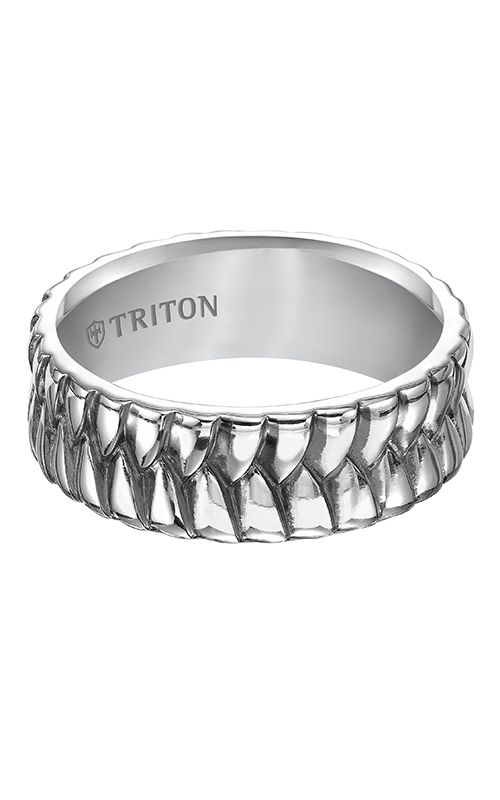 Triton  Woven Silver Black Oxidation Band -A  Wedding Band  11-4925SV-G product image