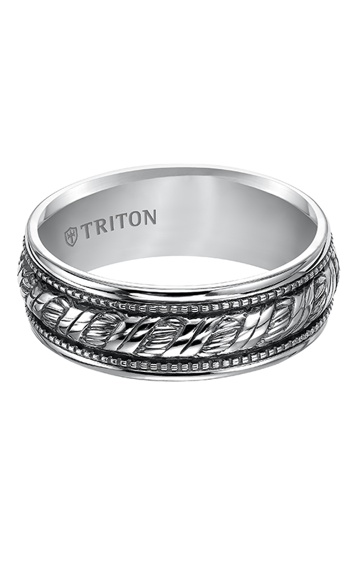 Triton  Woven Silver Black Oxidation Band -A  Wedding Band  11-4926SV-G product image