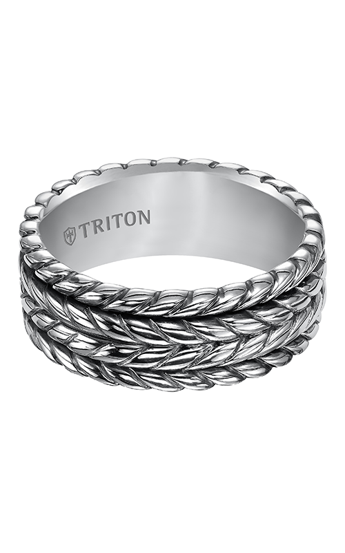 Triton  Woven Silver Black Oxidation Band -A  Wedding Band  11-4929SV-G product image