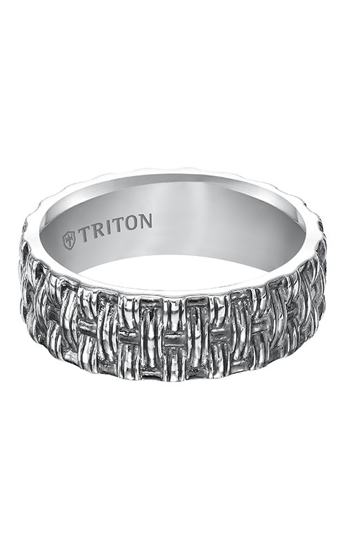 Triton  Woven Silver Black Oxidation Band -A  Wedding Band  11-4931SV-G product image