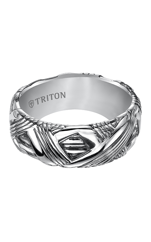 Triton  Woven Silver Black Oxidation Band -A  Wedding Band  11-4932SV-G product image