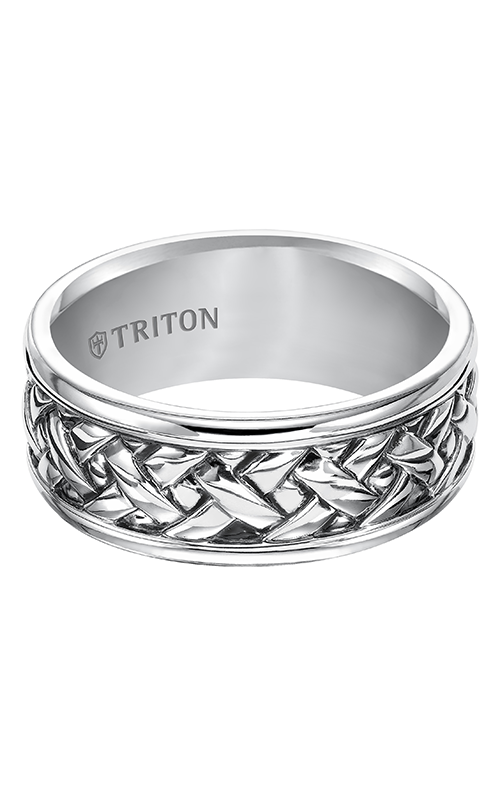 Triton  Woven Silver Black Oxidation Band -A  Wedding Band  11-4935SV-G product image