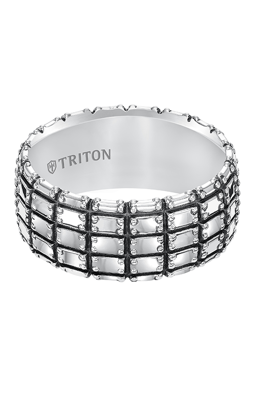 Triton  10mm Silver Black Oxidation Band-A  Wedding Band  11-5273SV-G product image