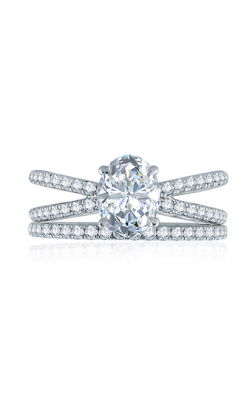 A.Jaffe French Pave Delicate Criss Cross Shank Oval Solitaire Engagement Ring ME2197Q product image