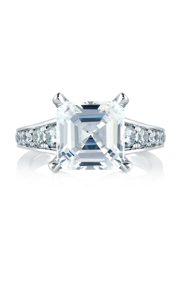 A.Jaffe Statement Asscher Cut with Diamond Studded Center Prongs & Diamond Stepped Shank Engagement Ring ME1561-370 product image