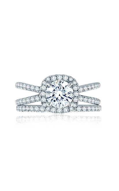 A.Jaffe Round with Cushion Halo French Pave Criss Cross Delicate Engagement Ring ME2187Q-157 product image