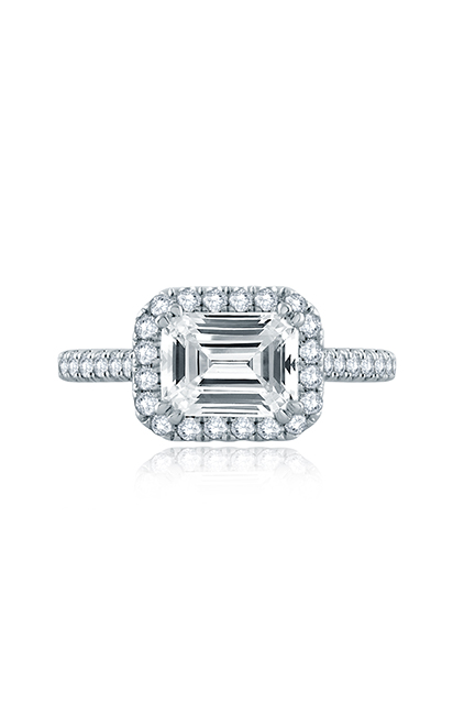 A.Jaffe East/West Emerald Cut Pave Halo Engagement Ring ME2149Q product image