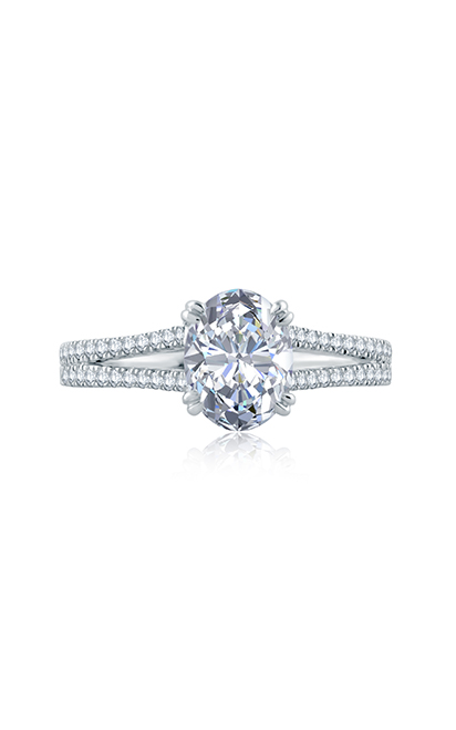 A.Jaffe Split Shank Double Prong Oval Center Solitaire Engagement Ring MES862 product image