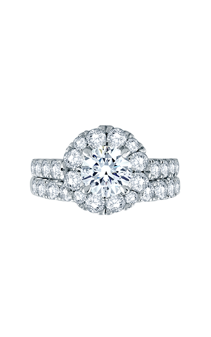 A.Jaffe Large Melee Round Center Halo Signature Shank Engagement Ring MES866 product image