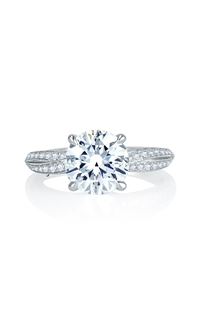 A.Jaffe Crossover Shank with Milgrain Detail Pave Diamond Engagement Ring MES740Q product image