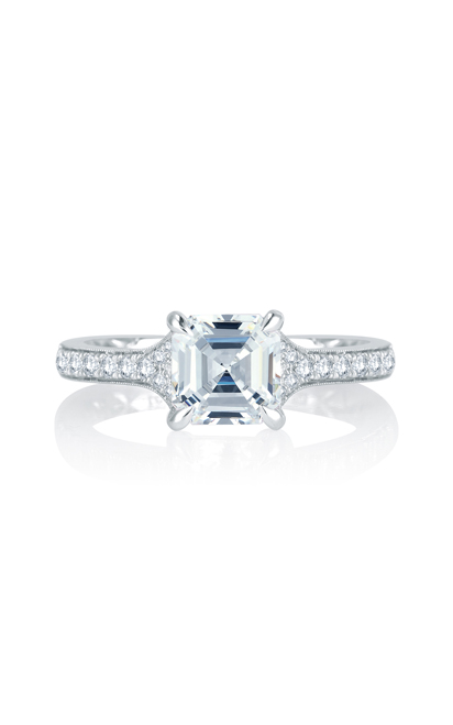 A.Jaffe Modern Meets Vintage Micro Pave Asscher Cut Diamond Center Quilted Engagement Ring MES753Q product image
