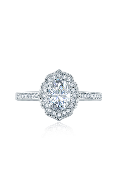 A.Jaffe Floral Inspired Milgrian Detail Halo Oval Engagement Ring ME2194Q product image