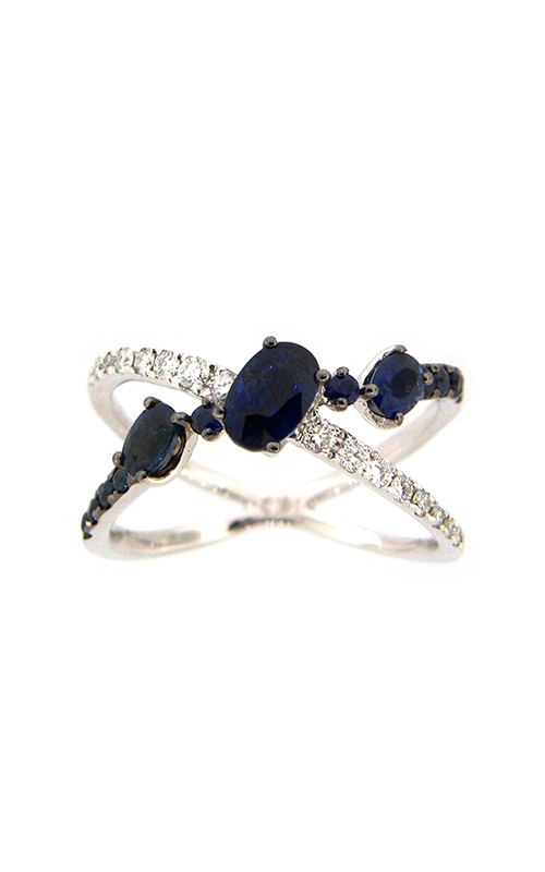 DILAMANI Venice Sapphire & Diamond crossover X ring AA17260S-200W product image