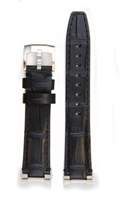 Everest Steel End Link Alligator Embossed Leather Strap With Tang Buckle - Black EH4BLK product image