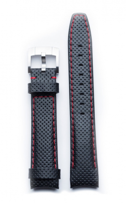 Everest Curved End Perforated Leather Strap With Tang Buckle - Black With Red Stitching EH8BLKRR product image