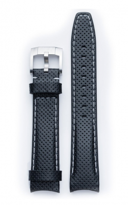 Everest Curved End Perforated Leather Strap With Tang Buckle - Black With White Stitching EH8BLKRW product image