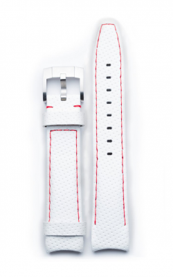 Everest Curved End Perforated Leather Strap With Tang Buckle - White With Red Stitching EH8WHTRR product image