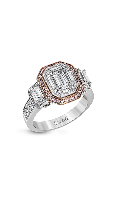 Simon G Mosaic - 18k white gold, 18k rose gold 0.88ctw Diamond Engagement Ring, LP1996 product image