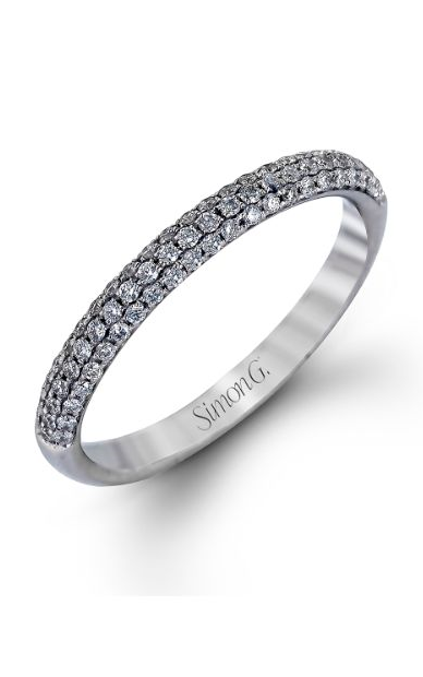 Simon G Caviar - 18k white gold 0.72ctw Diamond Wedding Band, TR431 product image